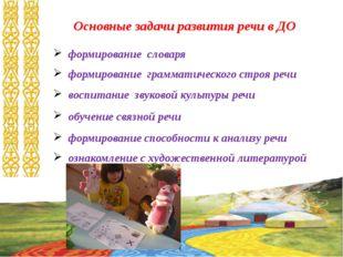 Основные задачи развития речи в ДО формирование словаря формирование граммати