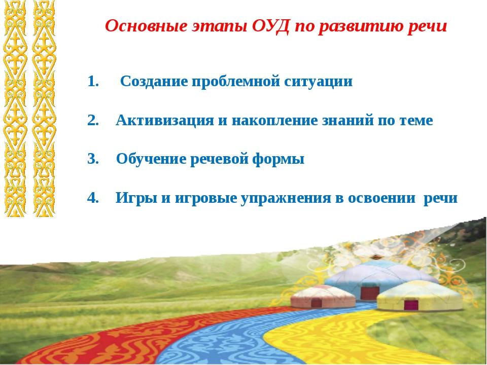 Основные этапы ОУД по развитию речи 1. Создание проблемной ситуации 2. Активи...