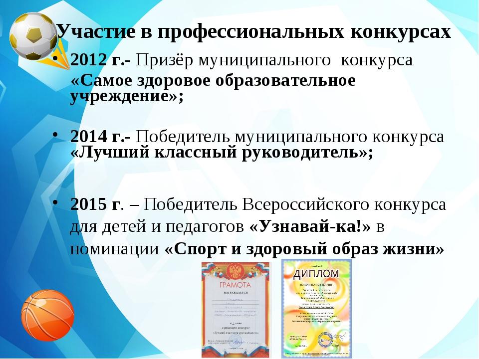 Участие в профессиональных конкурсах 2012 г.- Призёр муниципального конкурса...