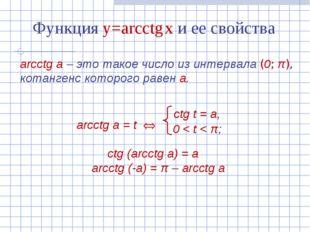 Функция y=arcсtg x и ее свойства arcсtg а – это такое число из интервала (0;