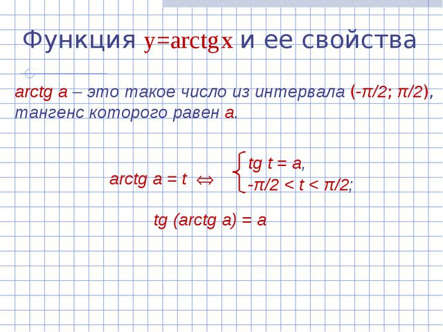 Функция y=arctg x и ее свойства arctg а – это такое число из интервала (-π/2;...