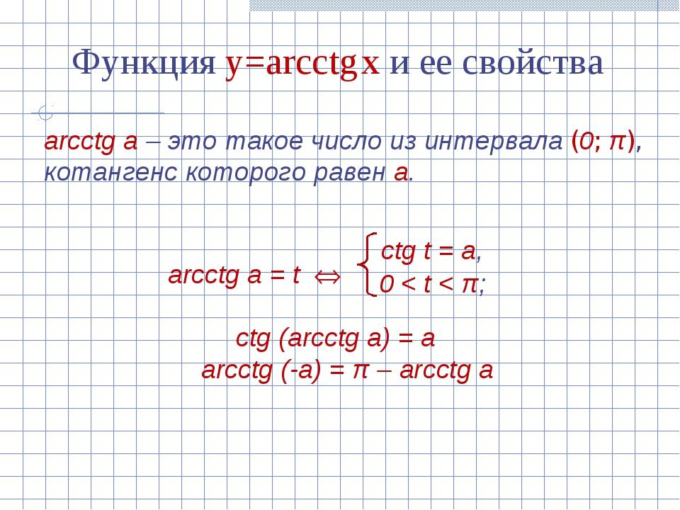 Функция y=arcсtg x и ее свойства arcсtg а – это такое число из интервала (0;...