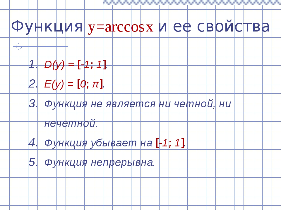 Функция y=arccos x и ее свойства D(y) = [-1; 1]. E(y) = [0; π]. Функция не яв...