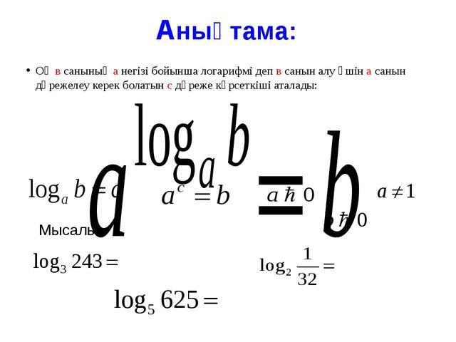 е негізі бойынша алынған логарифм натурал логарифм деп аталады.
