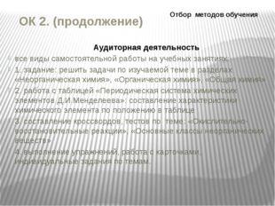 ОК 2. (продолжение) Аудиторная деятельность все виды самостоятельной работы н