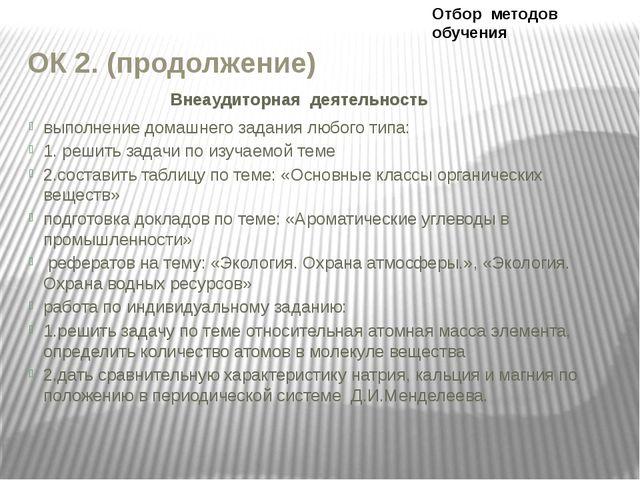 ОК 2. (продолжение) Внеаудиторная деятельность выполнение домашнего задания л...