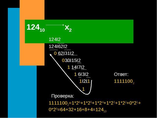 12410 х2 124I2 124I62I2 0 62I31I2 030I15I2 1 14I7I2 1 6I3I2 Ответ: 1I2I1 1111...