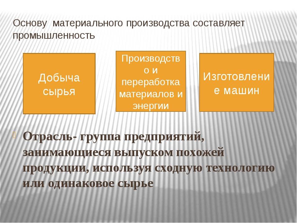 Основу материального производства составляет промышленность Отрасль- группа п...