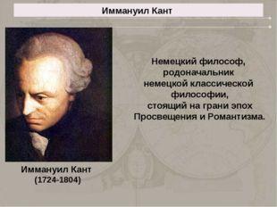 Иммануил Кант Иммануил Кант (1724-1804) Немецкий философ, родоначальник немец