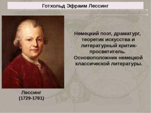 Готхольд Эфраим Лессинг Лессинг (1729-1781) Немецкий поэт, драматург, теорети