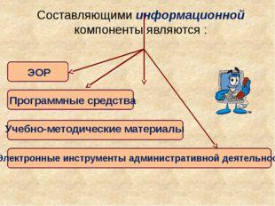 Составляющими информационной компоненты являются : ЭОР Программные средства Э