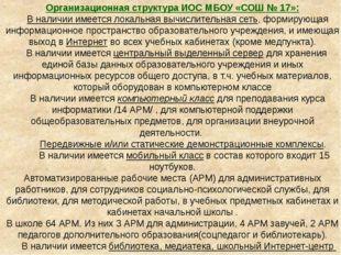 Организационная структура ИОС МБОУ «СОШ № 17»: В наличии имеется локальная вы