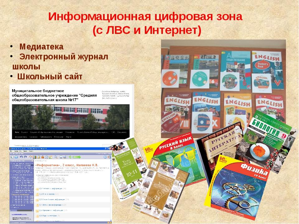 Информационная цифровая зона (с ЛВС и Интернет) Медиатека Электронный журнал...
