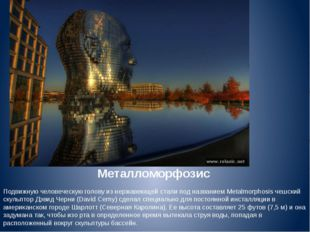 Металломорфозис Подвижную человеческую голову из нержавеющей стали под назван