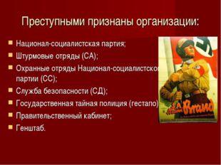 Преступными признаны организации: Национал-социалистская партия; Штурмовые от