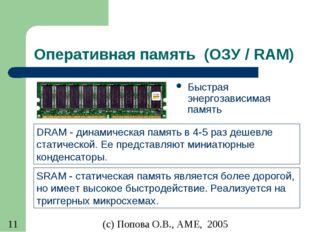 Оперативная память (ОЗУ / RAM) Быстрая энергозависимая память SRAM - статичес