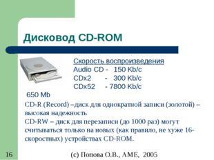 Дисковод CD-ROM 650 Mb Скорость воспроизведения Audio CD - 150 Kb/c CDx2 - 30