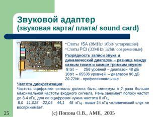 Звуковой адаптер (звуковая карта/ плата/ sound card) Слоты ISA (8MHz/ 16bit/