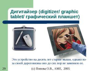 Дигитайзер (digitizer/ graphic tablet/ графический планшет) Это устройство на