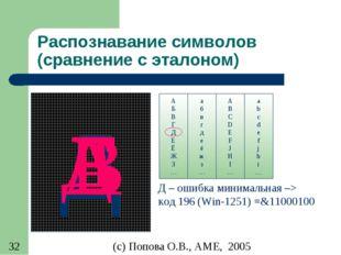 Распознавание символов (сравнение с эталоном) Д А Б В Г Д Е Ё Ж З … A B C D E