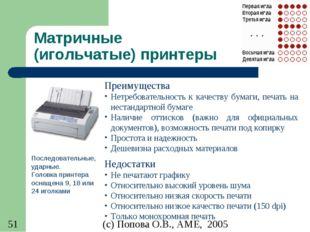 Матричные (игольчатые) принтеры Последовательные, ударные. Головка принтера о