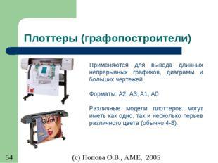 Плоттеры (графопостроители) Применяются для вывода длинных непрерывных график