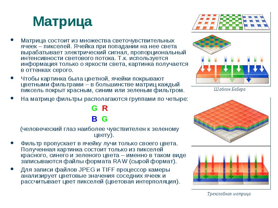 Матрица Матрица состоит из множества светочувствительных ячеек – пикселей. Яч...