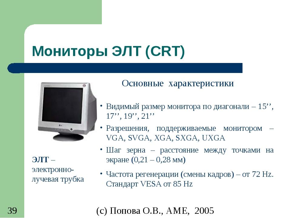 Мониторы ЭЛТ (CRT) ЭЛТ – электронно-лучевая трубка Видимый размер монитора по...
