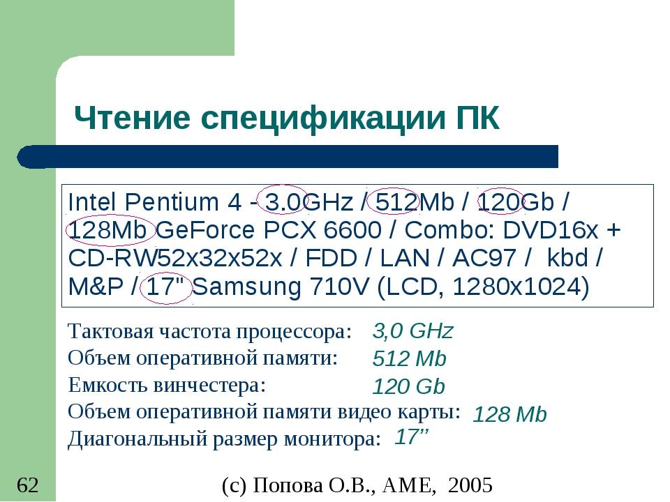 Чтение спецификации ПК Intel Pentium 4 - 3.0GHz / 512Mb / 120Gb / 128Mb GeFor...
