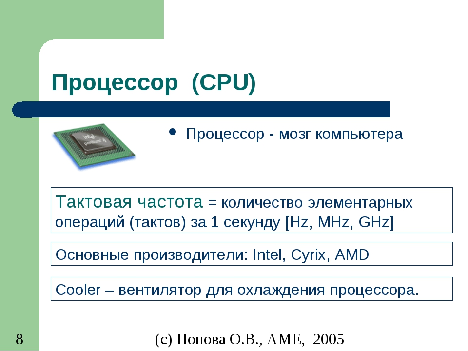Процессор (CPU) Процессор - мозг компьютера Тактовая частота = количество эле...