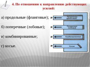4. По отношению к направлению действующих усилий: а) продольные (фланговые);