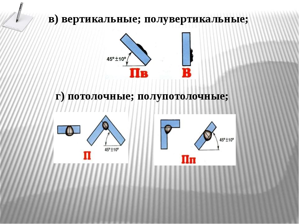 в) вертикальные; полувертикальные; г) потолочные; полупотолочные;