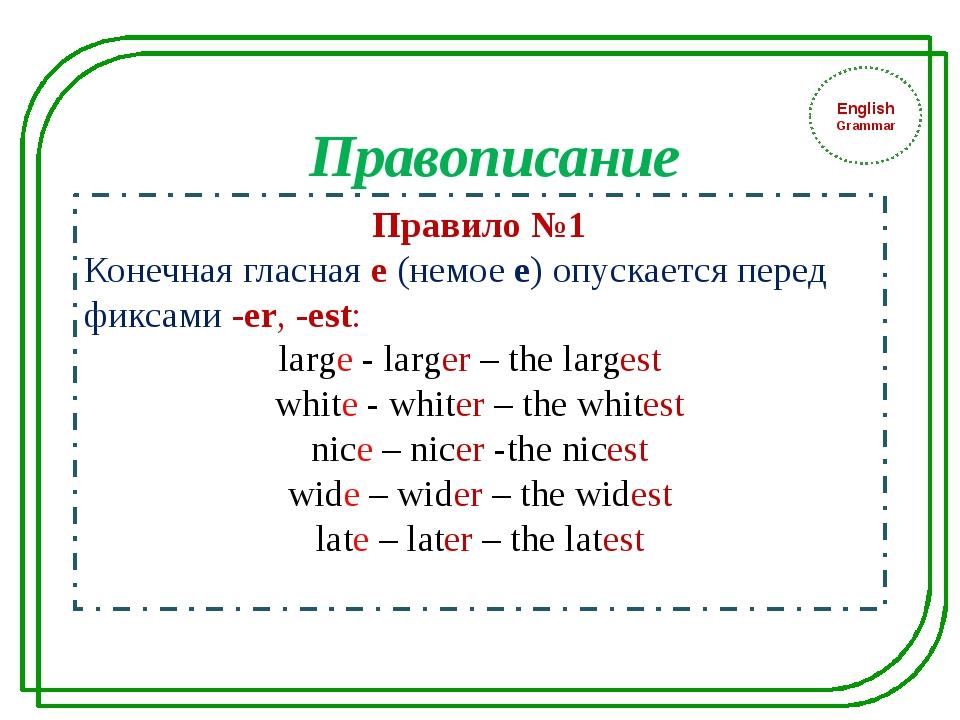 English Grammar Правило №1 Конечная гласная е (немое е) опускается перед фик...