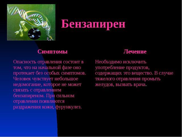 Бензапирен Симптомы Лечение Опасность отравления состоит в том, что на началь...