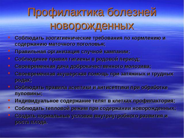 Профилактика болезней новорожденных Соблюдать зоогигиенические требования по...
