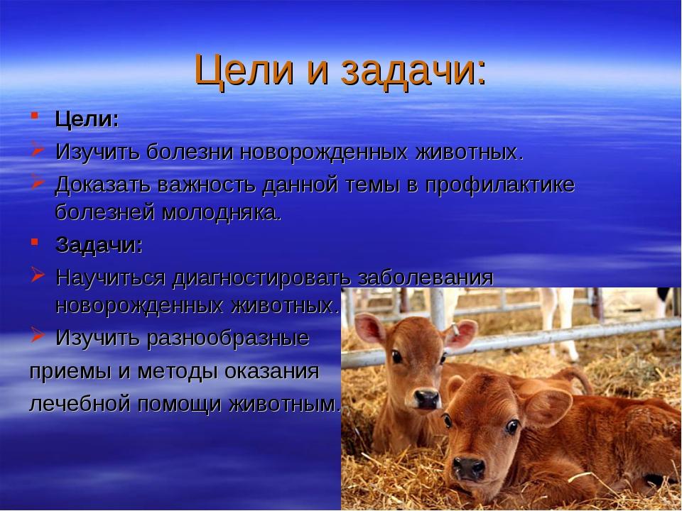 Цели и задачи: Цели: Изучить болезни новорожденных животных. Доказать важност...