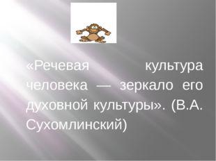 «Речевая культура человека — зеркало его духовной культуры». (В.А. Сухомли