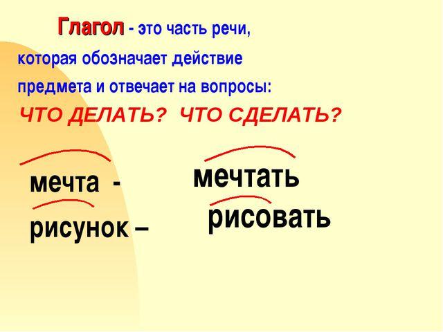 Глагол - это часть речи, которая обозначает действие предмета и отвечает на...