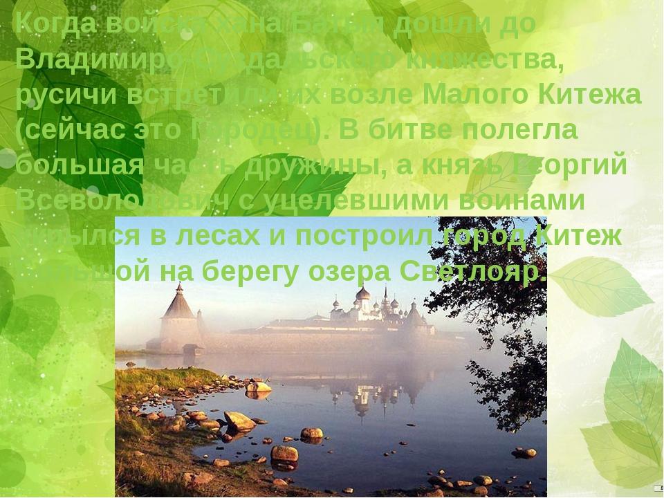 Когда войска хана Батыя дошли до Владимиро-Суздальского княжества, русичи вст...