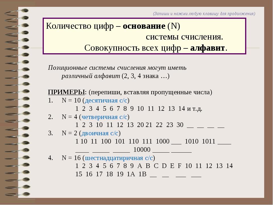 Количество цифр – основание (N)  системы счисления. Совокупность всех цифр...