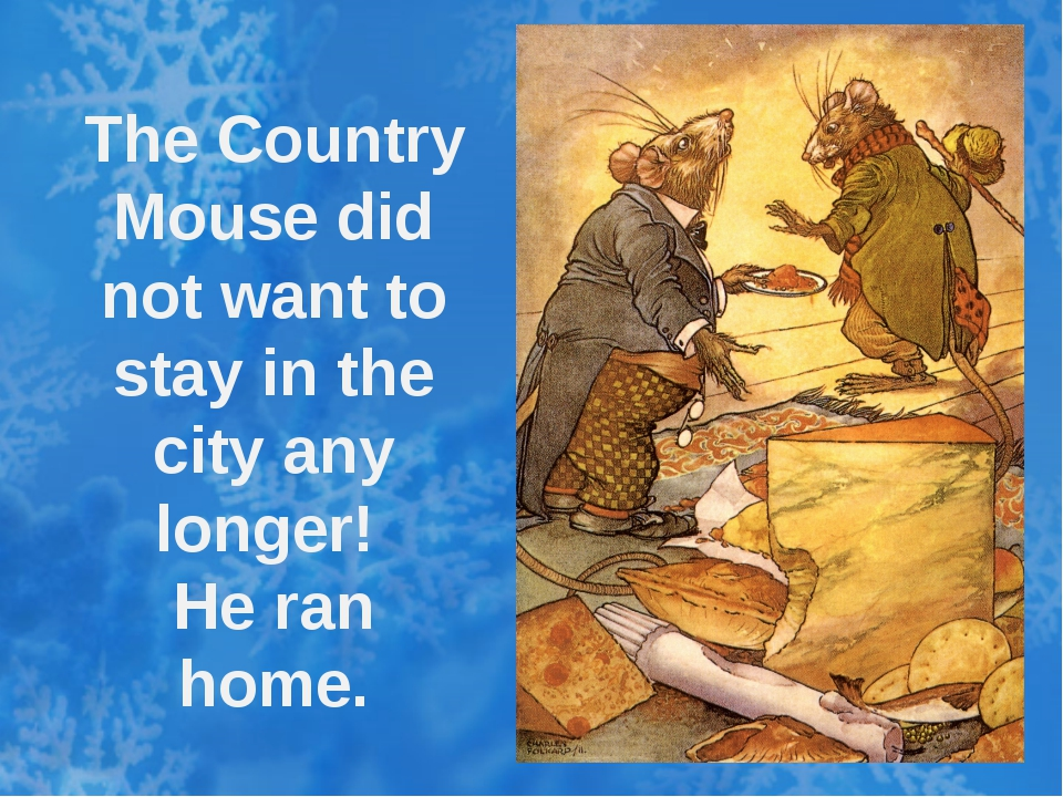 The Country Mouse did not want to stay in the city any longer! He ran home.