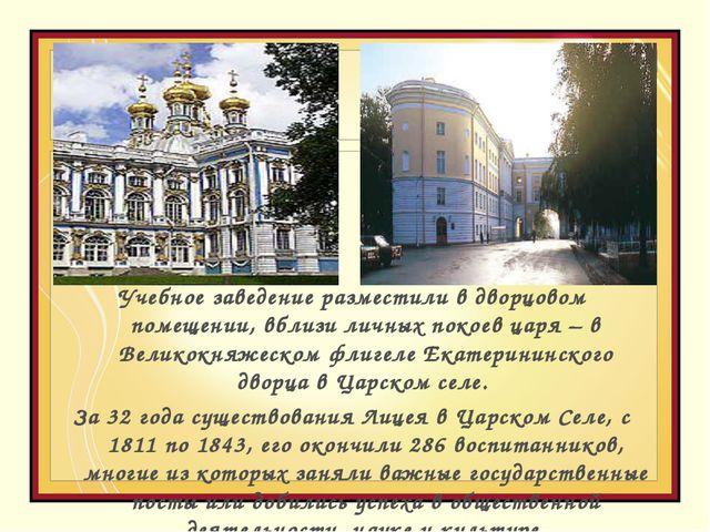 Учебное заведение разместили в дворцовом помещении, вблизи личных покоев царя...