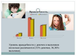 Уровень враждебности у девочек и мальчиков несколько различаются (35%-девочки