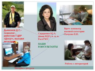 НАШИ КОНСУЛЬТАНТЫ Врач- психиатр высшей категории Пачуева Е.Н. Работа с литер