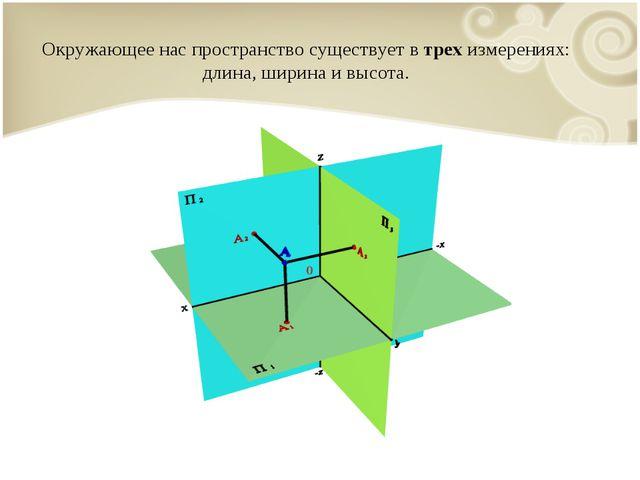 Окружающее нас пространство существует в трех измерениях: длина, ширина и выс...