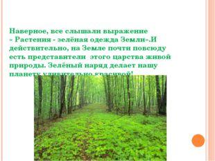 Разнообразие растений Наверное, все слышали выражение « Растения - зелёная од