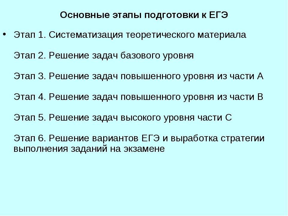 Основные этапы подготовки к ЕГЭ Этап 1. Систематизация теоретического материа...