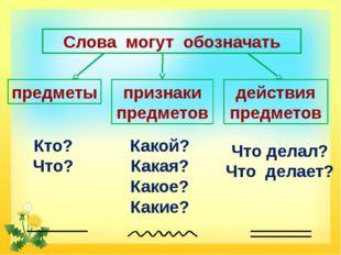 Слова могут обозначать предметы признаки предметов действия предметов Кто? Чт