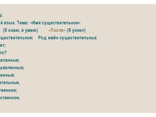Пример. Русский язык. Тема: «Имя существительное» «До»(Я знаю, я умею)«П...