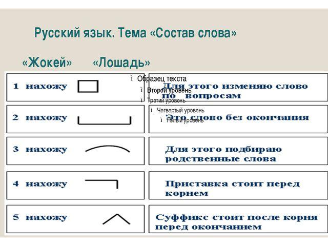 Русский язык. Тема «Состав слова» «Жокей»«Лошадь»
